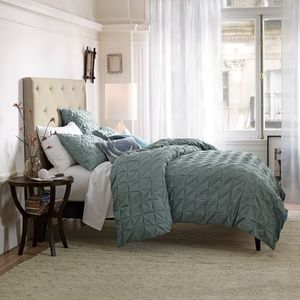 West Elm square-tuck duvet cover and shams